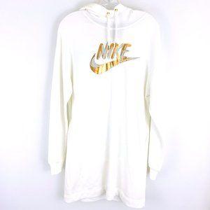 Nike Cotton Blend White Gold Logo Sweatshirt Hoodie Dress S